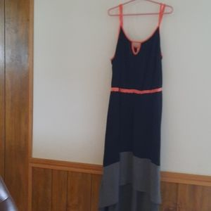 MERONA Black, Neon Orange & Gray Hi-Low Maxi Dress